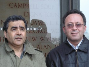 Habib Tengour & Palestinian philosopher Karim Barghouthi in front of Museum of Art in Philly