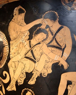 Apulian red-figure bell-krater, from 380–370 B.C., by the Eumenides Painter, showing Clytemnestra trying to awaken the Erinyes, at the Louvre.