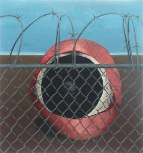 Nadia Ayari — The Fence  2007 Oil on canvas 152.5 x 142.3 cm