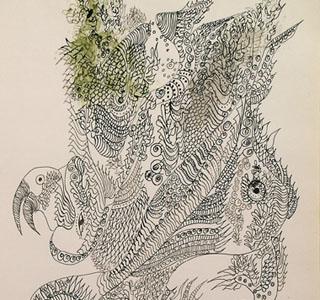 Unica Zürn, Untitled (detail), 1961. Ink on paper, 12 3/8 x 9 1/4 inches. Courtesy of Ubu Gallery, New York & Galerie Berinson, Berlin. © Brinkmann & Bose Publisher, Berlin.