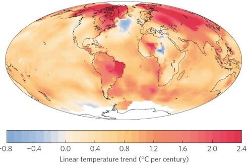 Map based on NASA GISS data of warming 1901-2013 in Rahmstorf AMOC NCC study 2015