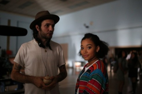 "Director Miles Joris-Peyrafitte with one of his stars, Amandla Stenberg, on the set of ""As You Are"" (Photo courtesy YouthFX)"