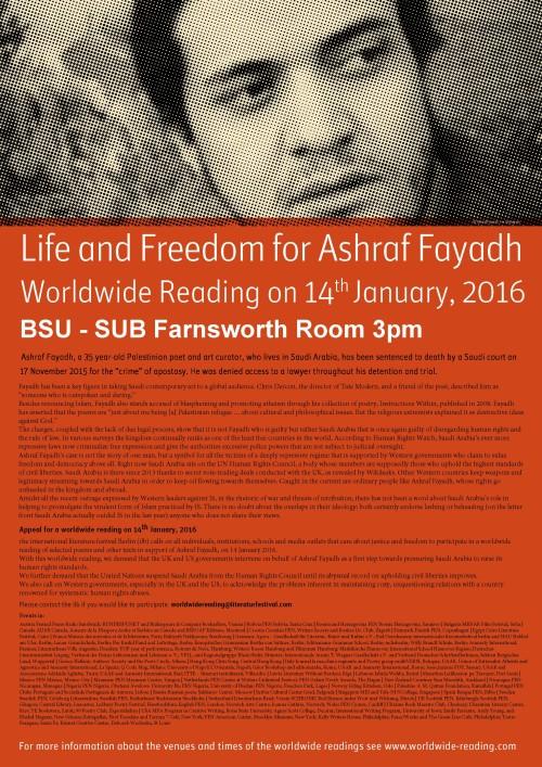 Poster Worldwide Reading Ashraf Fayadh